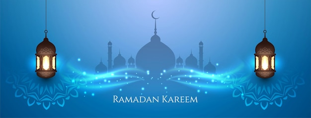 Desenho de banner azul elegante do festival ramadan kareem