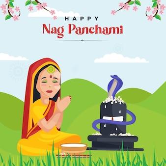 Desenho de banner com modelo de festival indiano feliz nag panchami