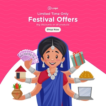 Desenho de banner com ofertas de festivais por tempo limitado