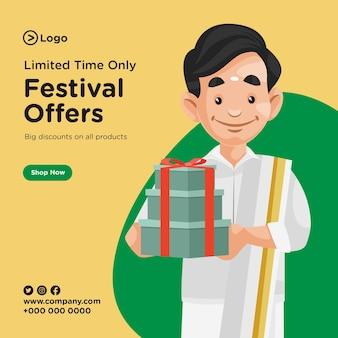 Desenho de banner com ofertas de festivais por tempo limitado Vetor Premium