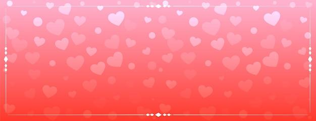 Desenho de banner com padrão de corações brilhantes