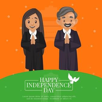 Desenho de banner criativo feliz dia da independência da índia