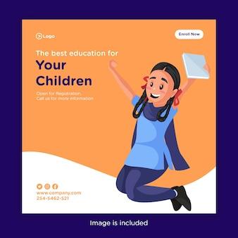 Desenho de banner da melhor educação para seus filhos