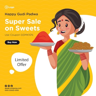 Desenho de banner da super venda de gudi padwa feliz em doces