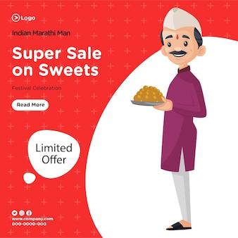 Desenho de banner da super venda do homem indiano marathi na celebração do festival de doces