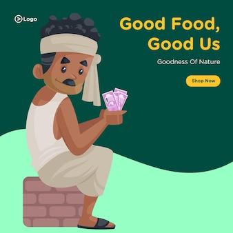 Desenho de banner de boa comida, bons nós e bondade da natureza