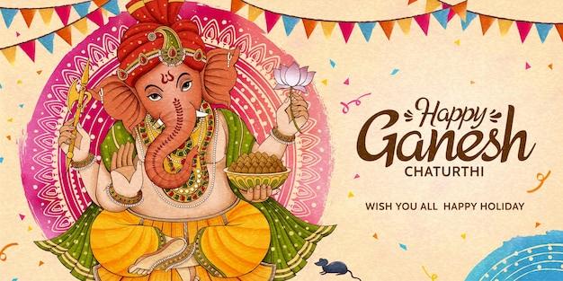 Desenho de banner de celebração do feliz ganesh chaturthi com bandeiras de festa