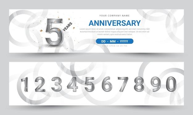 Desenho de banner de comemoração de aniversário com números de prata realistas premium vector