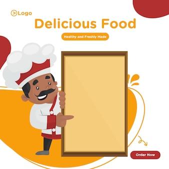 Desenho de banner de comida deliciosa com chef mostrando uma placa