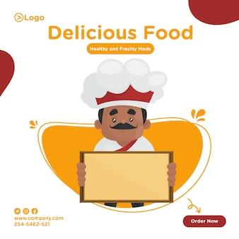 Desenho de banner de comida deliciosa com chef segurando uma prancha