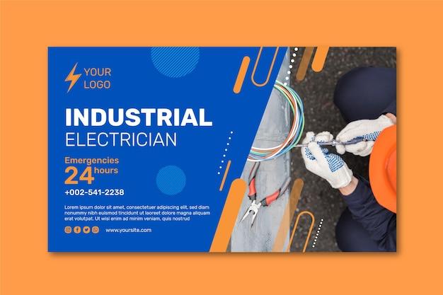 Desenho de banner de eletricista industrial