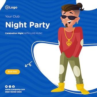 Desenho de banner de festa noturna
