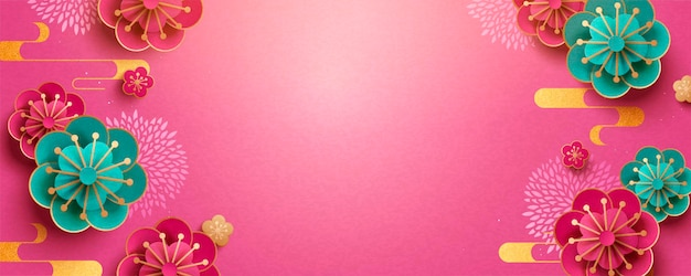 Desenho de banner de flores em papel com fundo de cor fúcsia