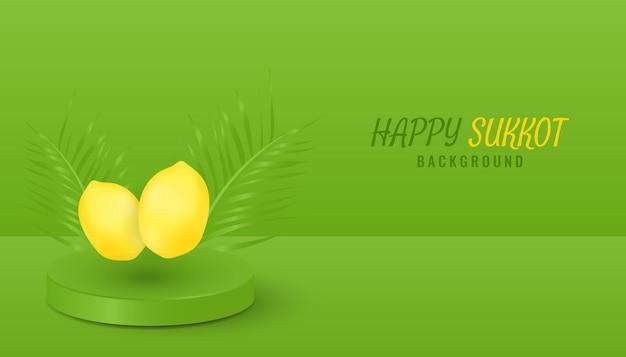 Desenho de banner de fundo 3d realista feliz sucot com folhas de palmeira e limão do pódio