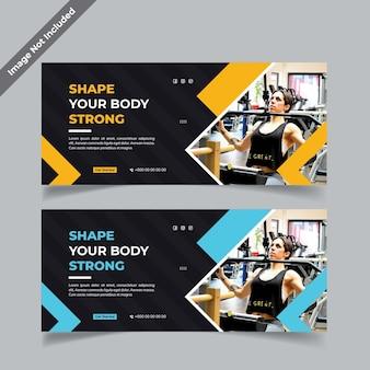 Desenho de banner de ginásio de fitness