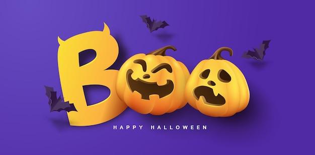 Desenho de banner de halloween com tipografia de corte de papel boo e abóboras elementos festivos halloween