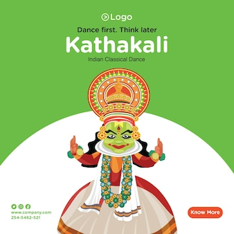 Desenho de banner de kathakali dança clássica indiana