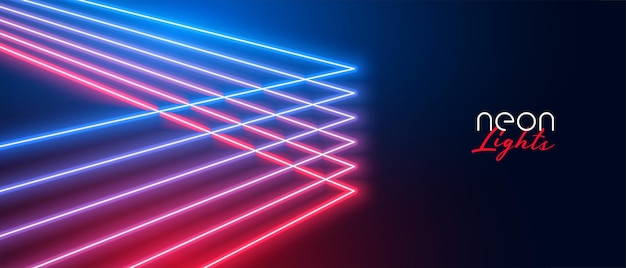 Desenho de banner de linhas de néon com efeito de luz