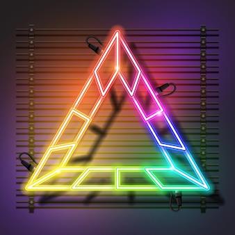 Desenho de banner de néon triangular