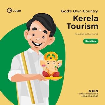 Desenho de banner de turismo kerela em estilo cartoon