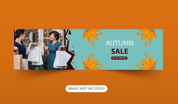 Desenho de banner de venda com tema de outono