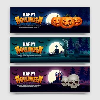 Desenho de banner de venda de halloween