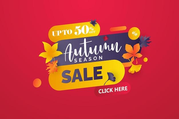 Desenho de banner de venda de licença de outono com etiqueta de desconto em folhas de outono coloridas para o outono