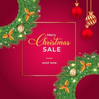 Desenho de banner de venda de natal com bolas decorativas vermelhas e tipografia desenho de folheto de venda de natal