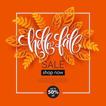 Desenho de banner de venda de outono com folhas de outono cortadas em papel colorido