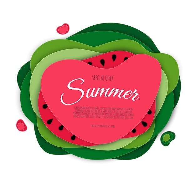 Desenho de banner de venda de verão com melancia cortada em papel