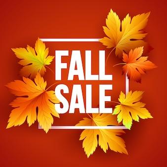 Desenho de banner de venda sazonal de outono