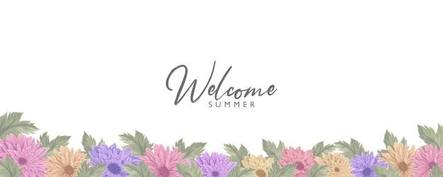 Desenho de banner de verão desenhado à mão com linda moldura de flores de crisântemo