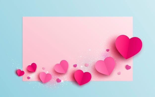 Desenho de banner do dia dos namorados de corações em fundo de papel em branco