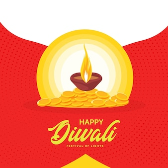 Desenho de banner do feliz diwali com lâmpada e moedas