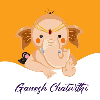 Desenho de banner do feliz modelo de festival indiano ganesh chaturthi