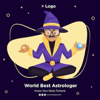 Desenho de banner do melhor astrólogo mundial em estilo cartoon