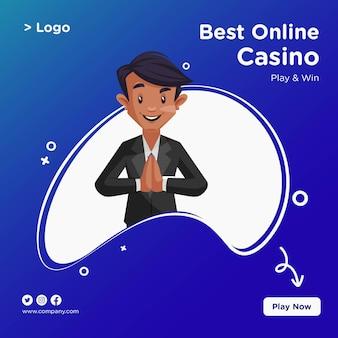 Desenho de banner do melhor casino online em estilo cartoon