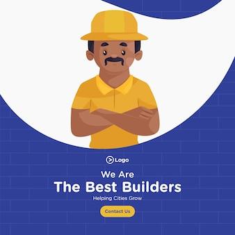 Desenho de banner do melhor construtor de estilo cartoon