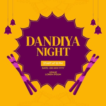 Desenho de banner do modelo dandiya noturno