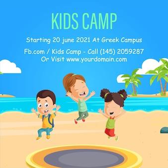 Desenho de banner do modelo de acampamento infantil