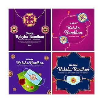 Desenho de banner do modelo de conjunto feliz raksha bandhan
