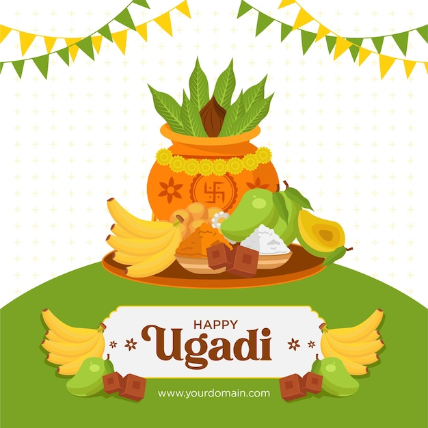 Desenho de banner do modelo de desenho animado ugadi feliz