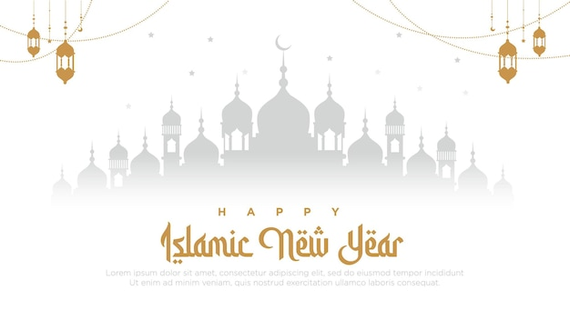 Desenho de banner do modelo de feliz ano novo islâmico