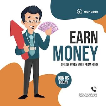 Desenho de banner do modelo de ganhar dinheiro