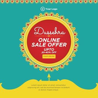 Desenho de banner do modelo de oferta de venda online dussehra