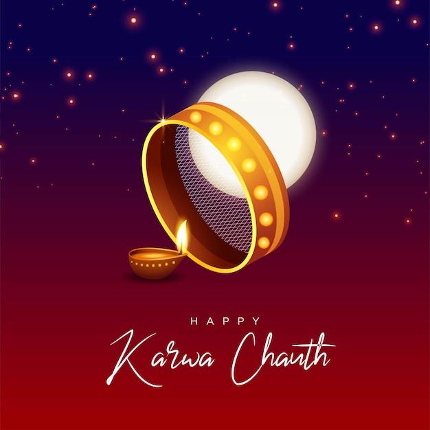 Desenho de banner do modelo feliz karwa chauth