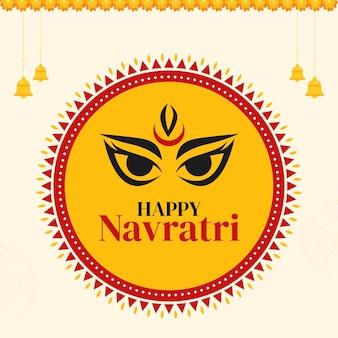 Desenho de banner do modelo happy navratri do festival indiano