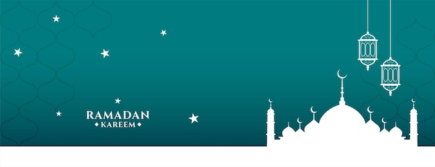 Desenho de banner em estilo plano ramadan kareem
