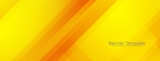 Desenho de banner geométrico moderno de cor amarela brilhante