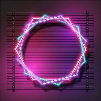 Desenho de banner hexagonal de néon
